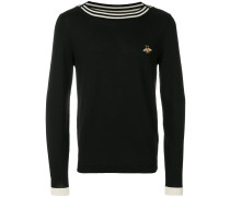 bee embroidered boat neck sweater