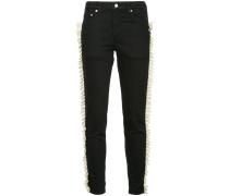 gathered ribbon trim jeans short length