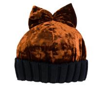 Samt-Mütze mit geripptem Saum