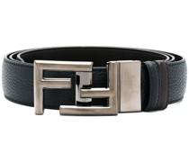 pebbled silver FF buckle belt