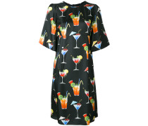 Seidenkleid mit Cocktail-Print