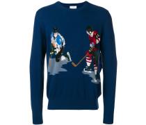 Intarsien-Pullover mit Eishockey-Motiv