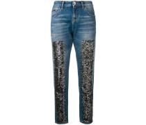 Skinny-Jeans mit Glitzer-Details