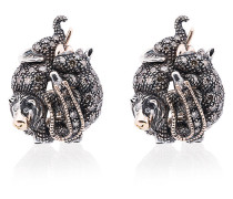 18K rose gold, silver and diamond Animal stud earrings