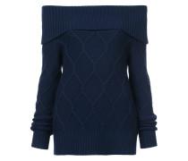 Schulterfreier Pullover mit Zopfmuster