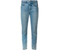 Gerade Jeans mit Perlenverzierung