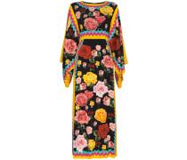 Kimono-Seidenkleid mit Rosen-Print