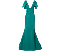 draped-shoulder fluted gown