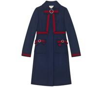 Mantel aus Wolle mit Webstreifen-Schleifen