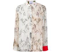 Twill-Hemd mit Einhorn-Print