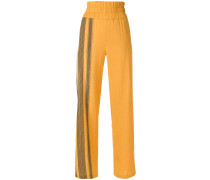 wide-leg patterned trousers