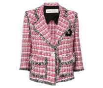 plaid fringed blazer
