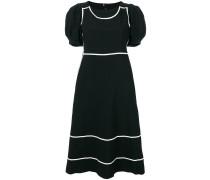 contrast trim puff sleeve dress
