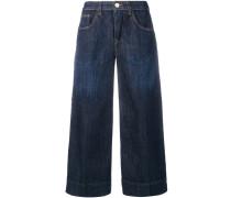 Jeans-Culottes mit Faltendetails