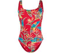 Badeanzug mit tropischem Teddy-Print