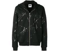 printed zipped hoodie