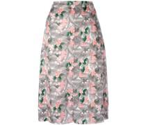 Midirock mit floralem Print aus Seide