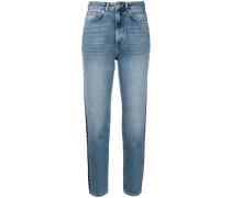 side stripe high waisted jeans