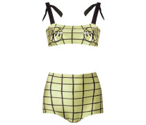 grid print bikini set