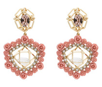 Clock crystal pearl rose earrings