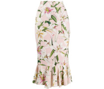 Lilium-print midi skirt