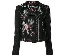 floral tweed biker jacket