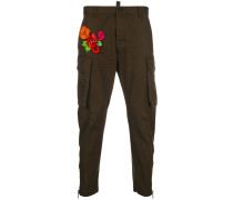 floral embroidered trousers