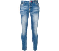 Skinny-Jeans mit Rosen-Patch