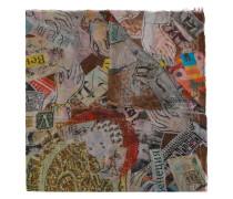 Schal mit Postkarten-Print