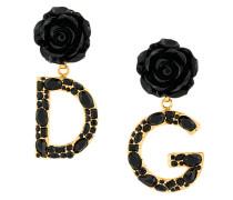 rose and logo drop earrings
