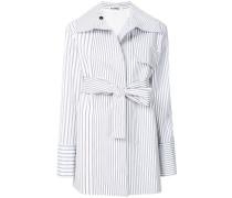 striped belted coat