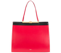 contrast lined square-shaped tote bag
