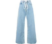 flared drawstring jeans