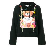 floral teddy bear motif hoodie