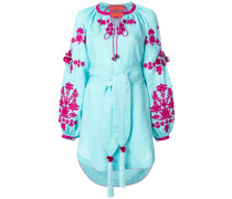 Ponpon embroidered mini dress