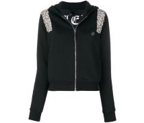 crystal embellished zip hoodie