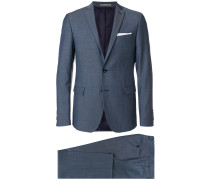 micro-checked slim-fit suit