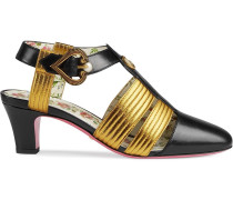 Leather mid-heel t-strap sandal