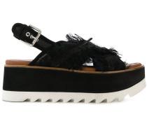 Flatform-Sandalen mit Muster