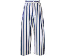 vertical stripe wide leg cropped trousers