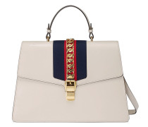 White Sylvie large leather tote bag