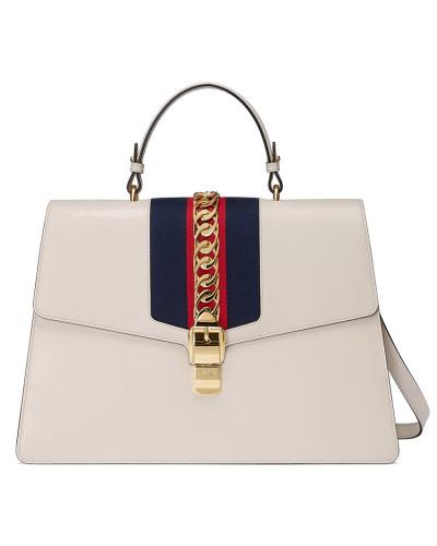 Gucci Damen White Sylvie large leather tote bag 100% Ig Garantiert Günstiger Preis UEeXEvC