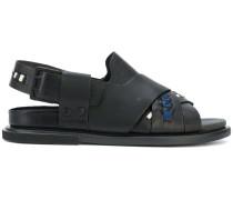 crossover strap stitch detail sandals