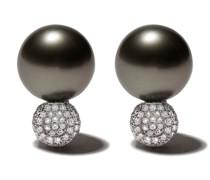 18kt Weißgoldohrringe mit Perlen und Diamanten