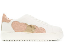 heart applique platform sneakers