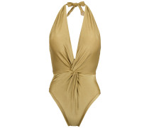 halterneck twisted detail swimsuit