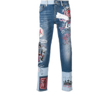 mural print two tone jeans