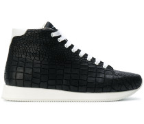crocodile effect hi-top sneakers