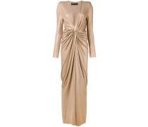 metallic draped gown