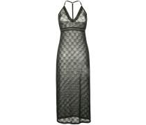 monogrammed mesh halterneck dress